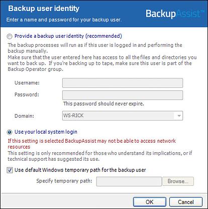 Backup User Identity