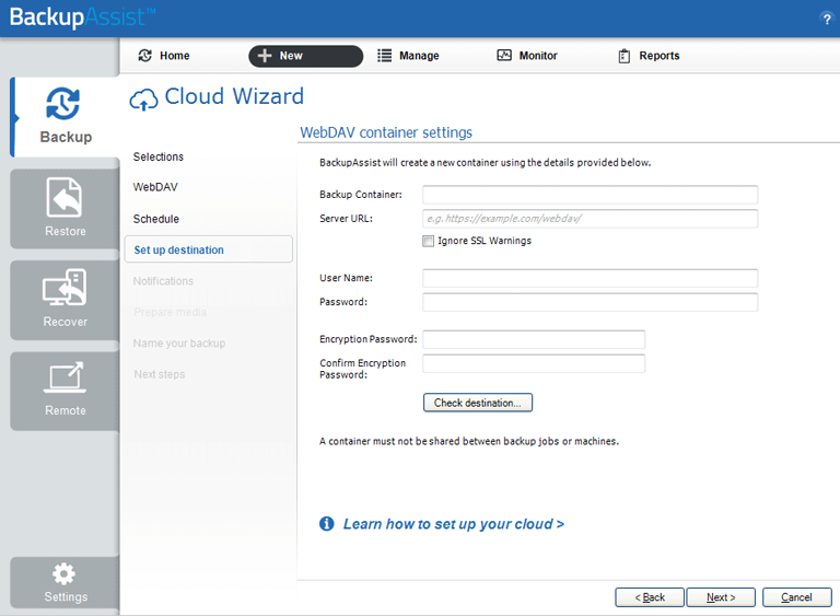 BackupAssist's server to the cloud backup includes a dedicated configuration screen for WebDAV