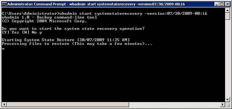 wbadmin System State restore starting