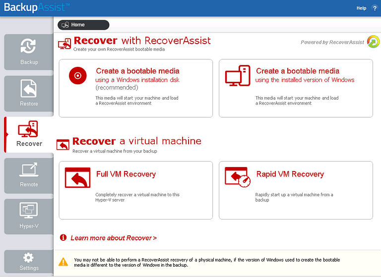 Rapid VM recovery is made easy with BackupAssist's Hyper-V backup software and its comprehensive VM recovery options.