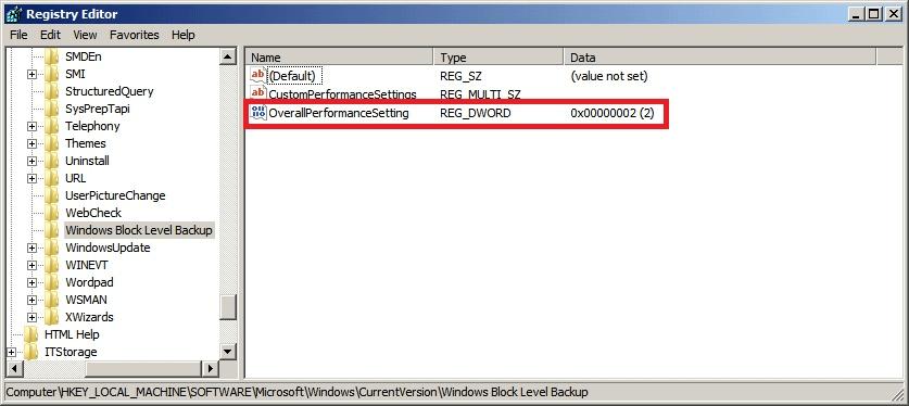 BackupAssist - Registry