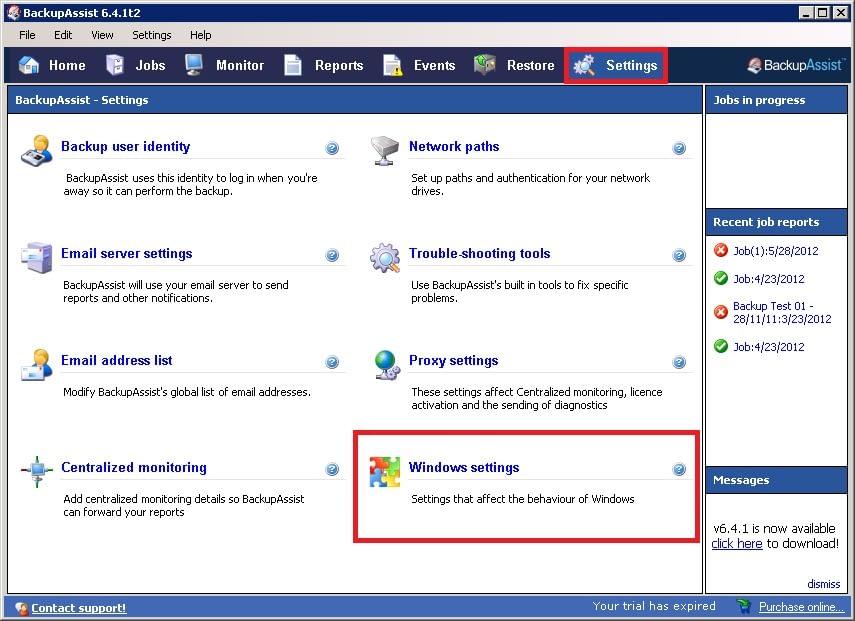 BackupAssist - Windows Settings