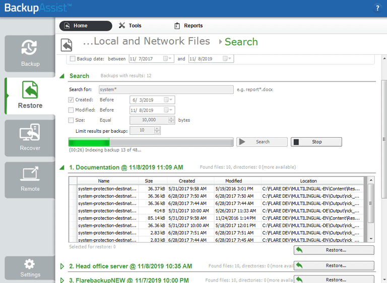 Search each Windows Server backup and find the right backup for your data restore.