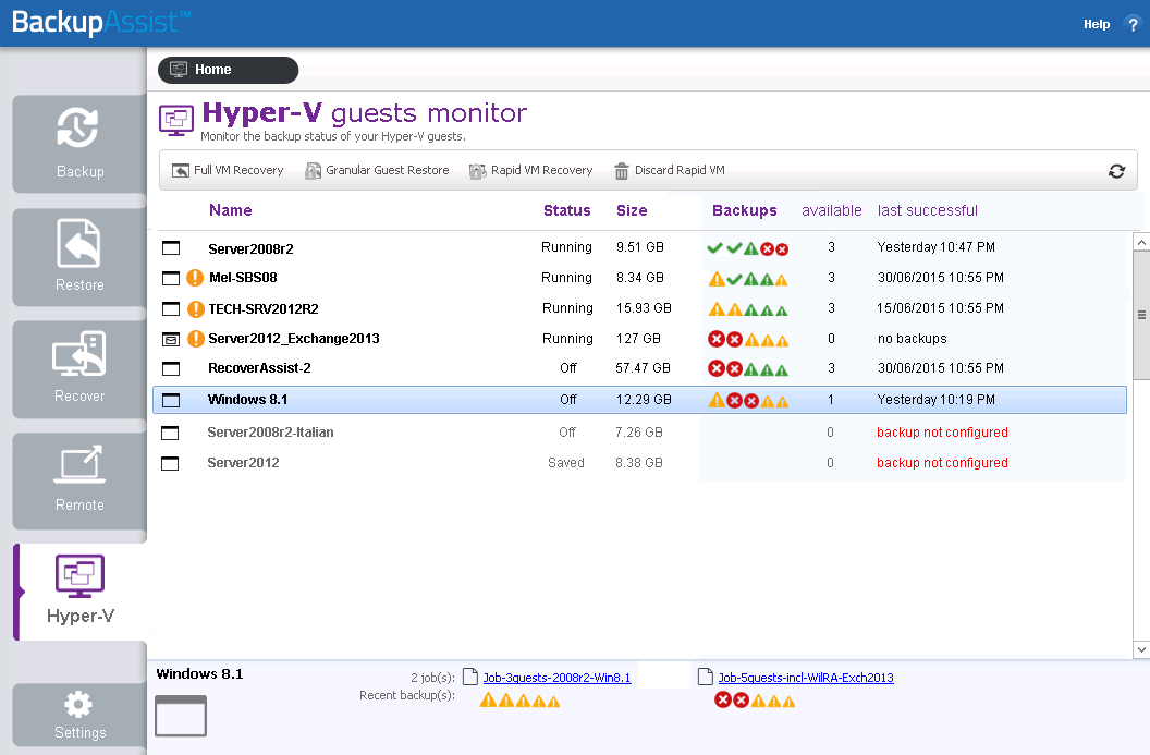 BackupAssist's Hyper-V tab