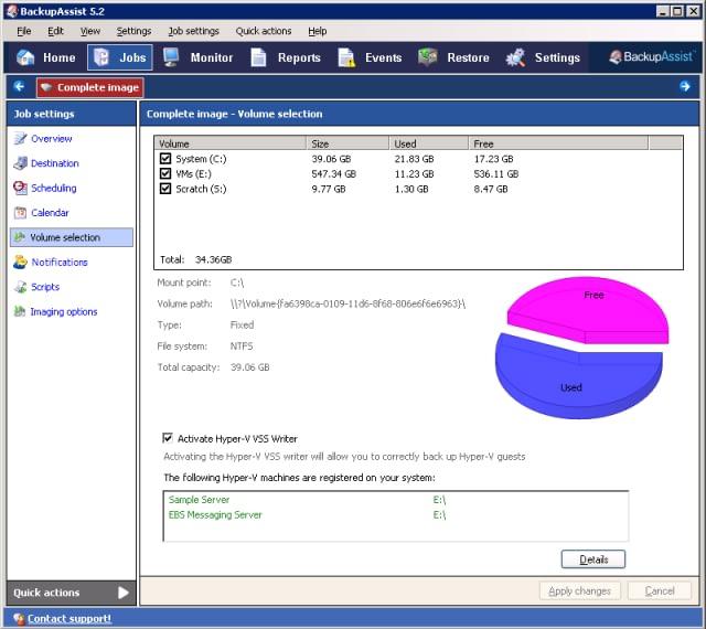 Select the Hyper-V VSS writer easily