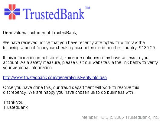 Phishing example from Wikipedia
