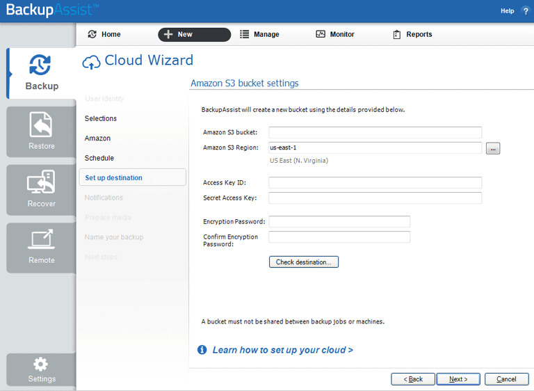 BackupAssist's server to the cloud backup includes a dedicated configuration screen for Amazon S3