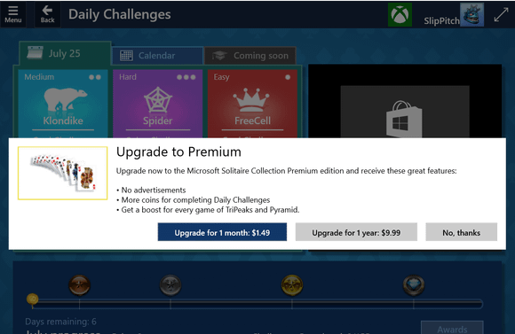Freemium Solitaire: Come on, Microsoft!