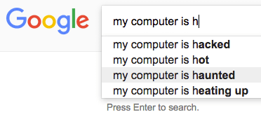 Funny google search my computer is haunted