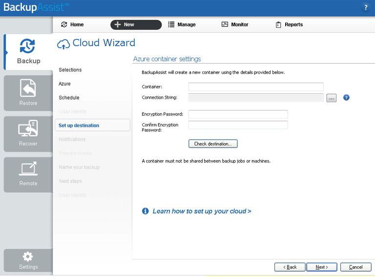 BackupAssist's server to the cloud backup includes a dedicated configuration screen for Azure