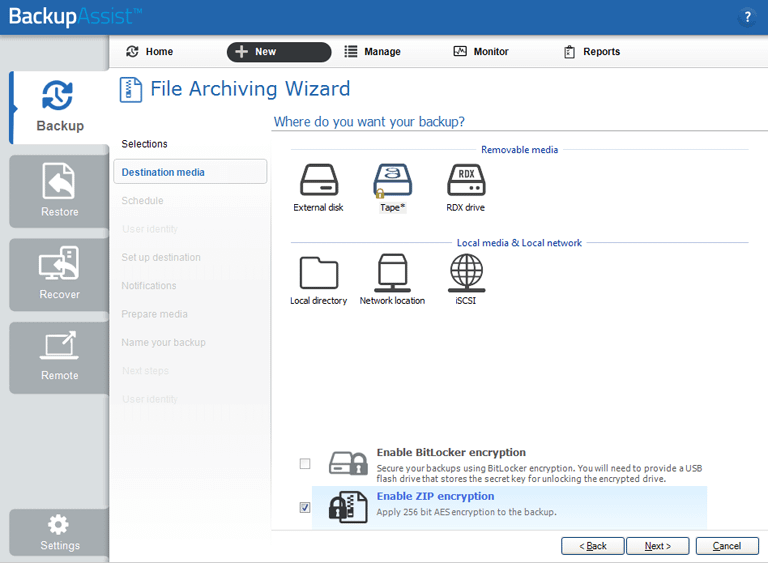 BackupAssist's tape backup software and tape encryption is accessed from the File Archiving, Destination media step