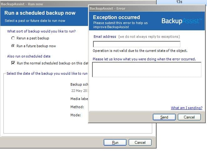 run a scheduled backup exception