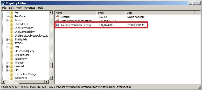 BackupAssist - Registry Editor