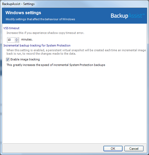VSS setting - application consistent backup