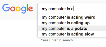 My computer is a potato funny google search