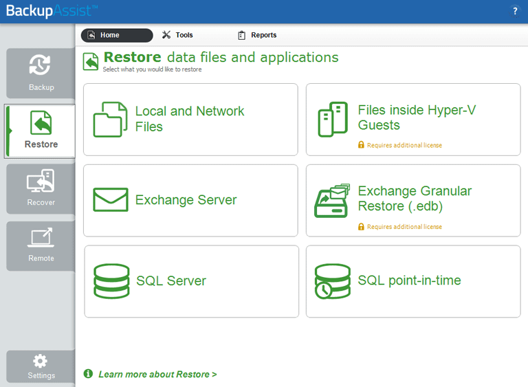Restore data from a Windows Server backup using the BackupAssist Classic Restore Console.
