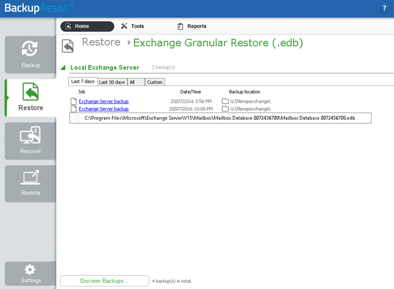 Exchange Granular Restore will open any Exchange Server EDB file backup so that individual emails can be restored