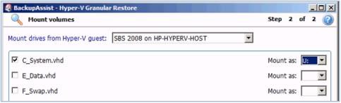 Hyper-V Restore - Step 1