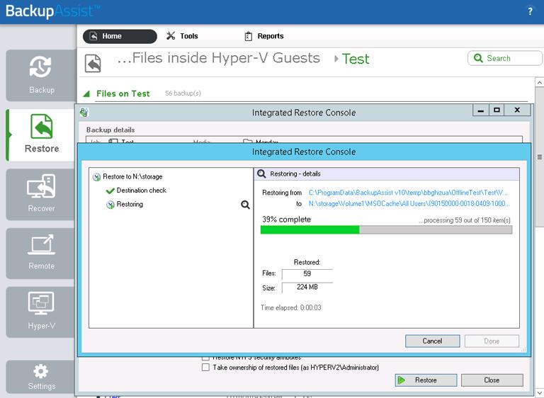 BackupAssist's Hyper-V backup software displays the progress of granular file restores from VMs