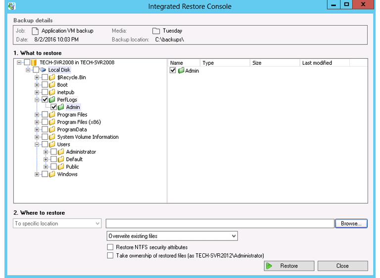 This Hyper-V backup solution restores selected files from a VM using a Windows Server backup of a Hyper-V guest.