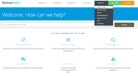 free trial of backupassist - get in touch with support