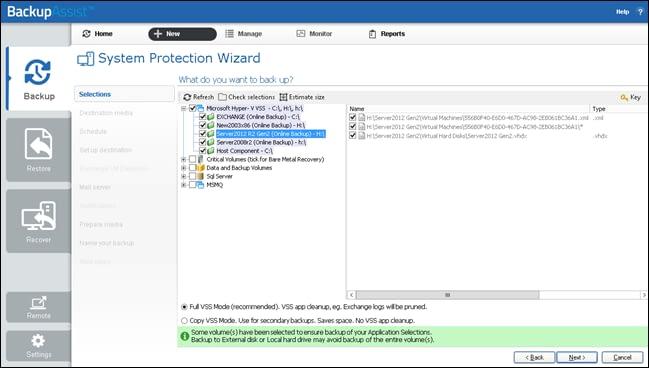 System Protection Hyper-V backup