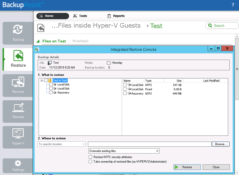 BackupAssist's Hyper-V backup software uses a dedicated restore console for Hyper-V guests. This makes it easy to select the exact files and folders you want to restore from a VM
