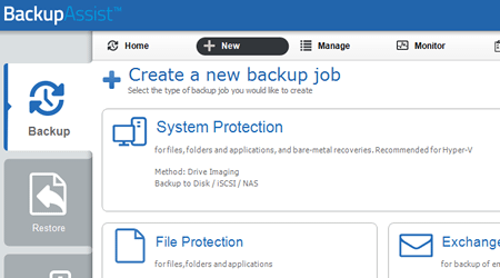 free trial of backupassist - creating your first backup