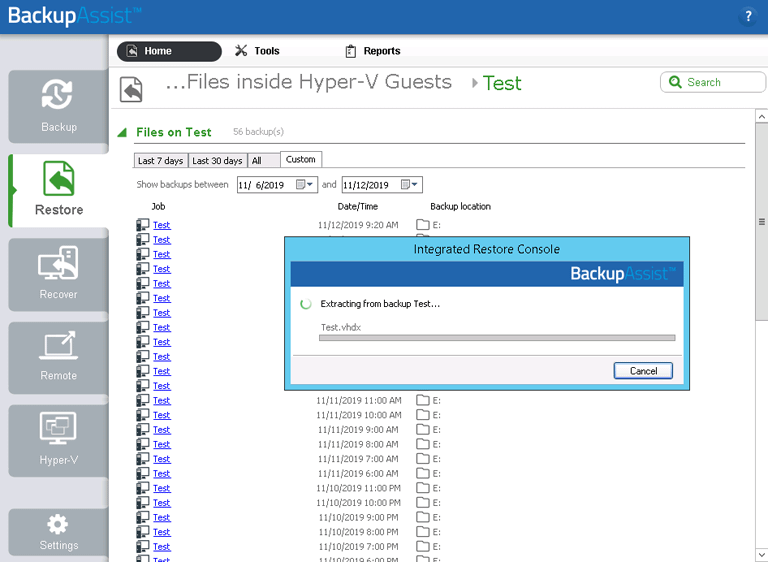 BackupAssist's Hyper-V backup software can open a Hyper-V backup so that you can restore individual files from the VM
