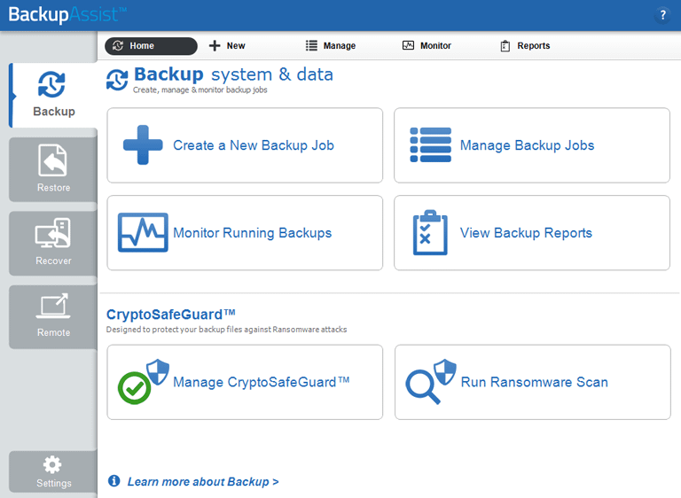 The backup tab gives easy access to BackupAssist's specialized tape backup software, server cloud backup destinations and point-in-time sql server backup software