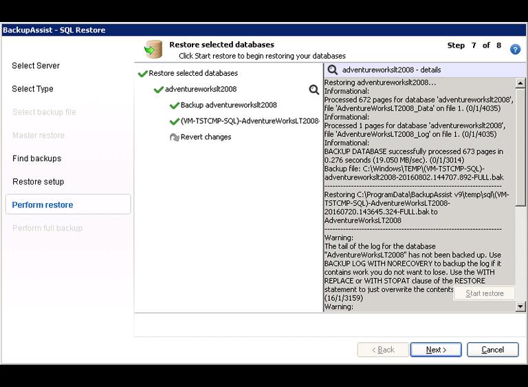 BackupAssist's SQL Server backup software displays point-in-time database restore information while an SQL database restore is in progress