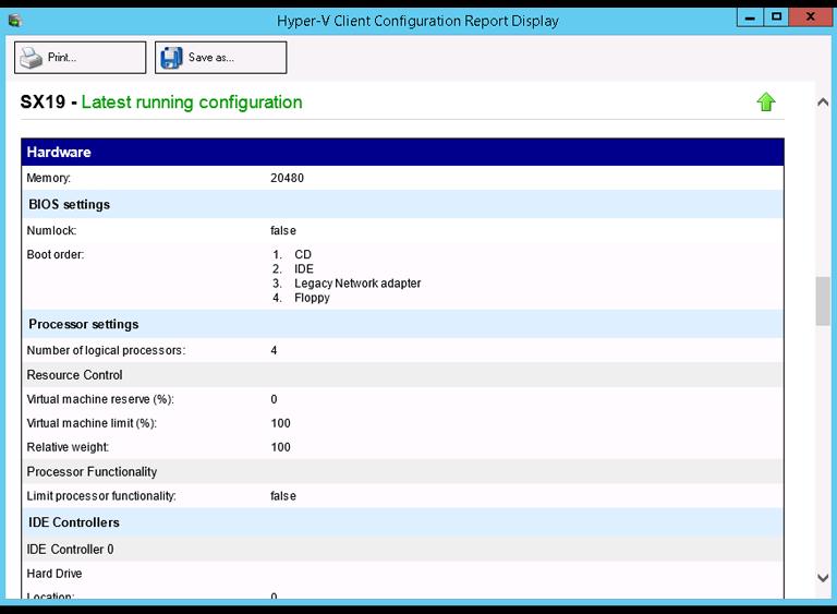 VM configuration report
