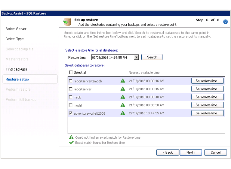 Use a continuous server backup of an SQL database to restore to a specific point in time. This requires an SQL Protection backup, not a standard Windows Server backup.
