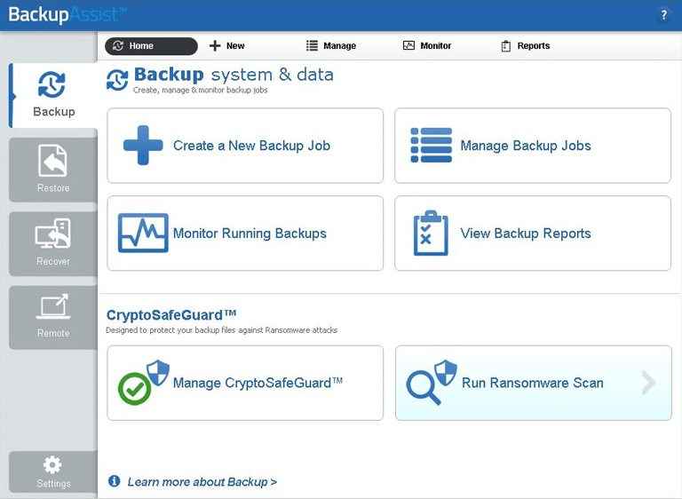 BackupAssist CryptoSafeGuard protects and your backups and backup destinations, and gives you the tools needed to manage your ransomware resilience