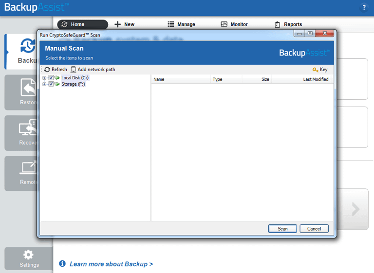 Check you backups for possible infection and whitelist any safe files by performing a manual CryptoSafeGuard scan.